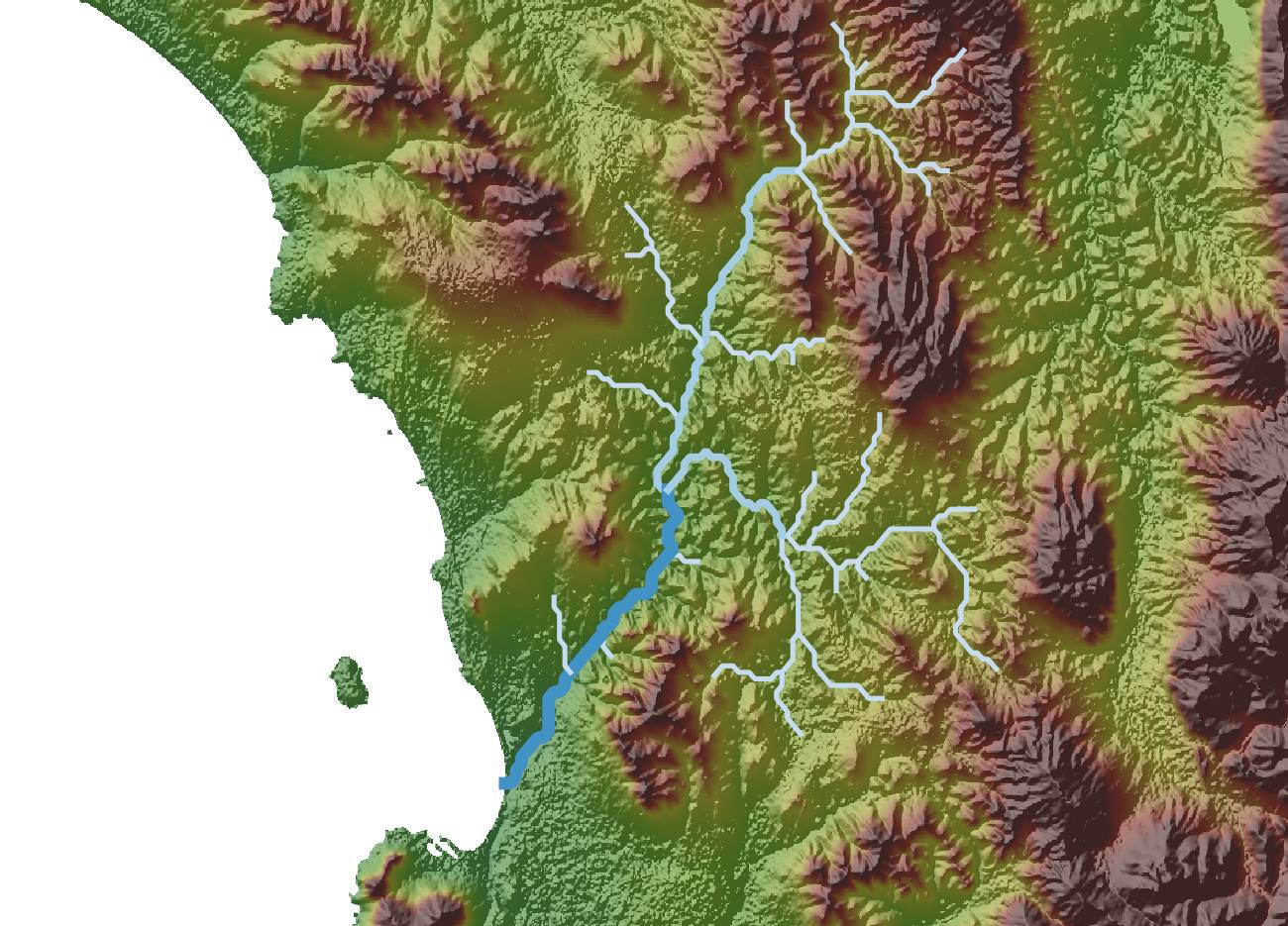 For example, here's our same river overlaid with the DEM elevation data.