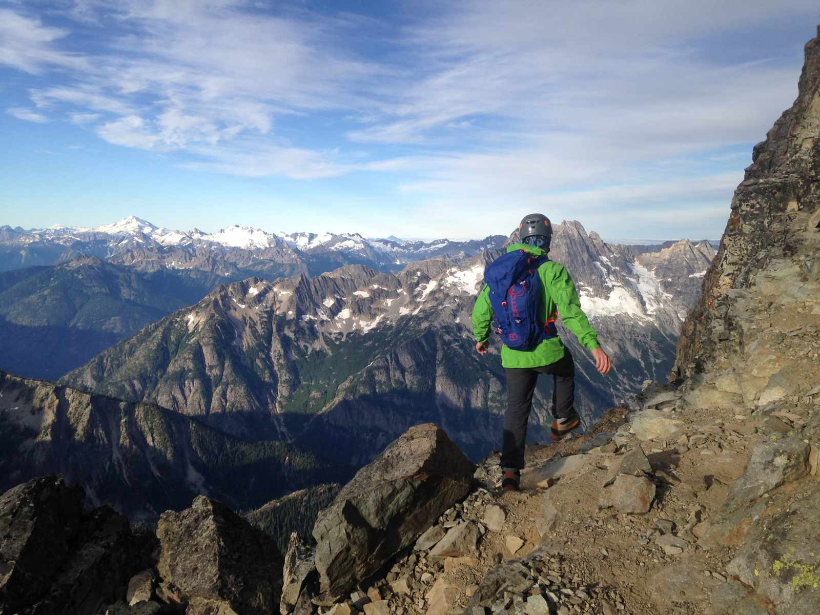 Coming down from the summit of Black Peak in the North Cascades.