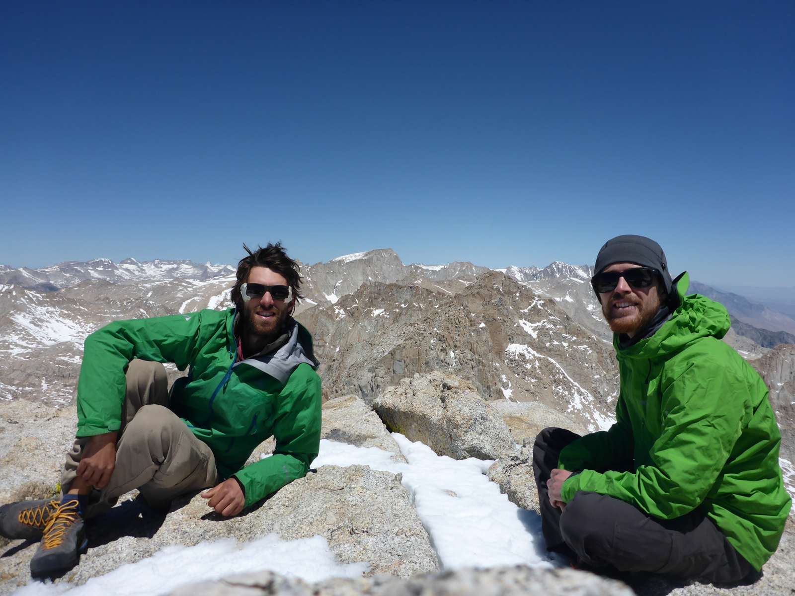 Michael (left) and Chris (right) on the summit of Mt Langley (4 278 m).